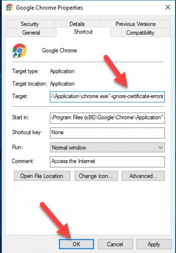 """Add """" ignore certificate error"""" as a chrome shortcut"""