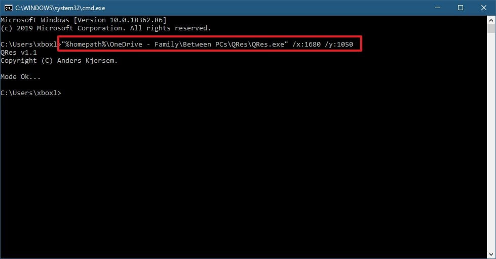 How to change screen resolution using command line on window 10