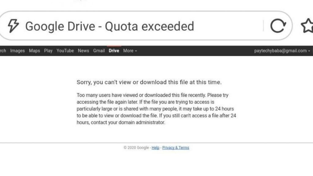 How to fix google drive download error (quota exceeded)