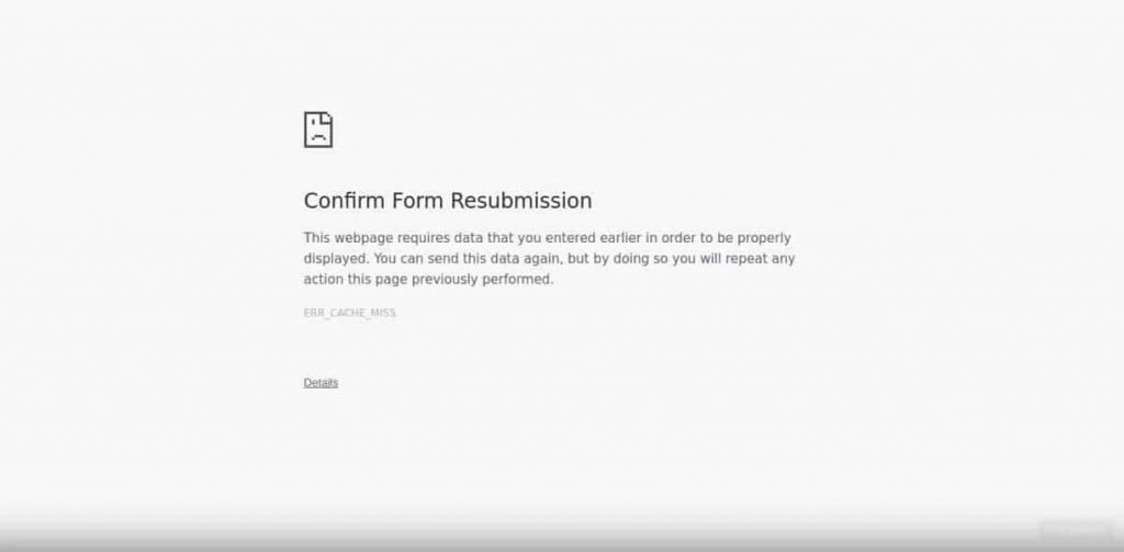 How to fix the Confirm Form Resubmission error on Chrome